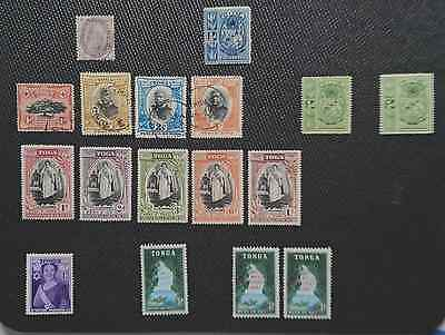 Mint & Used Tonga 1891-1962. 17 Stamps. Inc 1891 used 2d.