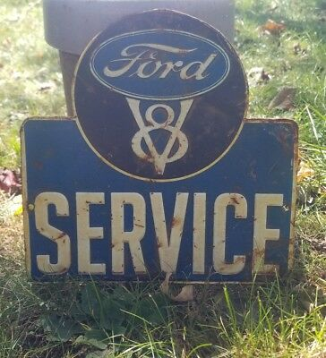 Vintage old rare Ford service dealer sign gas oil original metal