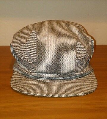 Antique Early Train Conductor Railroad Engineer Striped Cap Hat USA Made Small