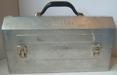 Vintage Aladdin Metal Lunch Box Can Pail Retro Construction Mining Lunchbox