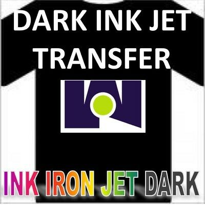 "Ink Jet Iron-On Heat Transfer Paper - Dark Fabrics - 10 Shs - 8.5""x11"" A+ SELLER"