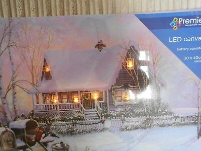 Led Light Up Christmas Canvas, Cottage In The Snow Scene