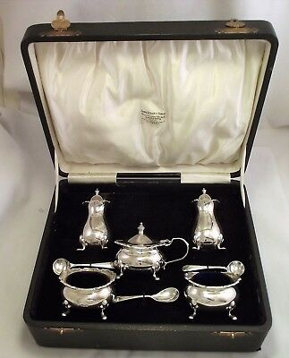 5 Piece Solid Silver Cruet / Condiment Set Birmingham 1936 Adie Brothers - Large