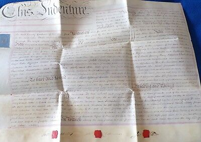 vellum Indenture Related to People in Sussex and Land in Shoreham, 1814