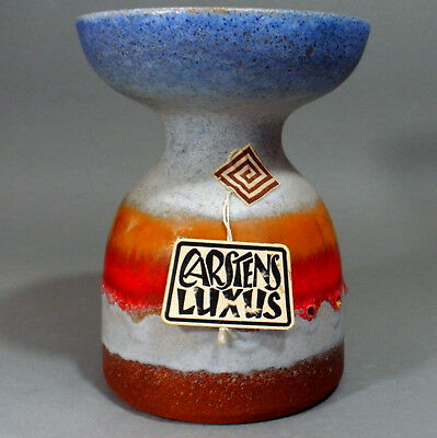 CARSTENS LUXUS CERAMIC CANDLEHOLDER GERMAN ART POTTERY 60/70s MODERNIST W. LABEL