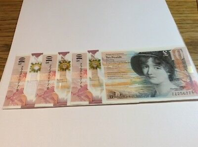 Royal Bank Polymer £10 ZZ Replacement X3 Consecutive And Uncirculated