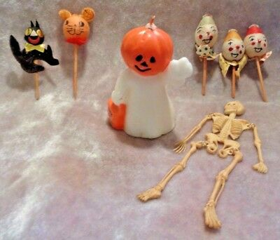 Vintage Halloween LOT SKELETON Gurley BLACK CAT PUMPKIN Spun Cotton Xmas JAPAN!
