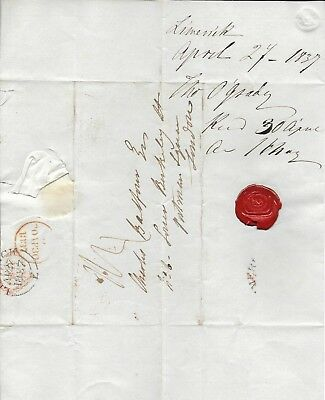 Pre-Stamp Cover with Letter, Limerick to London, 1837