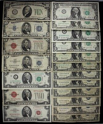 $43 Dollars old US money $10 $5 $2 $1 FRN US notes silver certs star '28-'81 FSP
