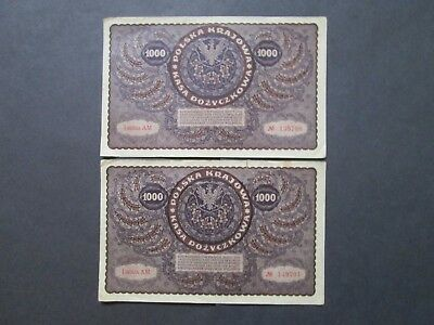 Banknotes Poland 1919 2 x 1000 Marek Concecutive numbers. AM 139700/1  F/VF