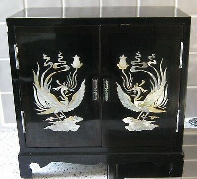 A Vintage Mother of Pearl and Black Laquer Cabinet