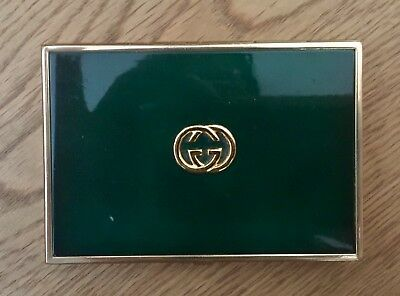 Gucci Vintage Brass Metal Cigarette Holder/case/box With Emerald Green Inset