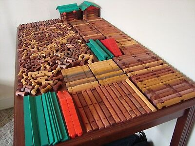 Lincoln Logs HUGE Lot 500 Pieces WOOD Roofs BIG Set TONS of Different Pieces