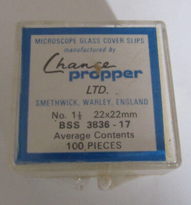 MICROSCOPE GLASS COVER SLIPS BY CHANCE PROPPER LTD 22X22mm