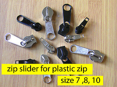 Zipper slider - PLASTIC SPIRAL Coil  ZIP # 7 8 10 Zip Slider Pull Zipper Repair