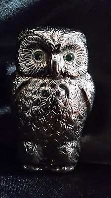 Beautiful solid brass owl match safe/striker with green glass eyes