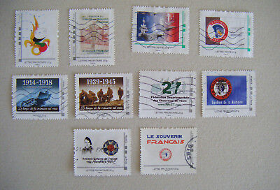 Lot 10 Timbres Militaria Personnalises Collector France Oblitere