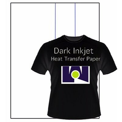 "Jet Dark Transfer Paper - 8.5"" x 11"" (50 sheets) Blue Line Inkjet Iron-On :)"