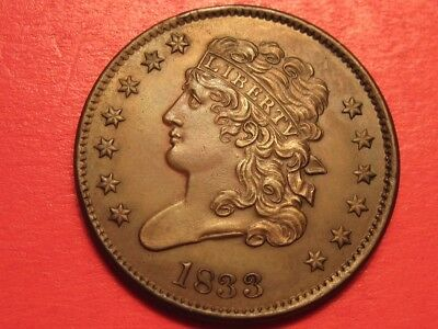 1833 Classic Head Half Cent ~ Low Mintage / High Grade UNC Collectors Coin