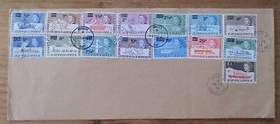 1969 £1 on ANTARCTIC BAT 1971 DECIMAL SURCHARGES cover FALKLANDS 1973 unusual