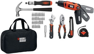 Black & Decker 3.6V Rechargeable Lithium Ion Screwdriver Tool Project Kit