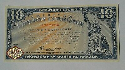 Series 1998 American Liberty Currency Silver Warehouse Receipt  $10.00 NORFED CU