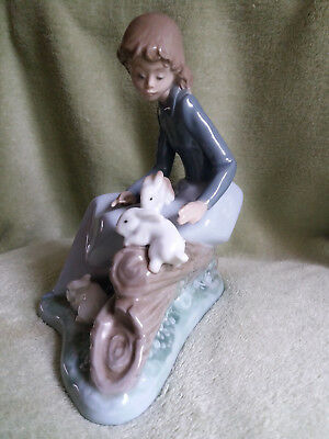Nao by Lladro Girl with Rabbits