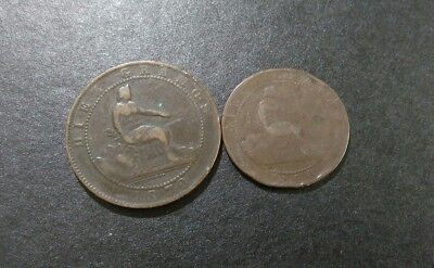 Old spanish coins both dated 1870
