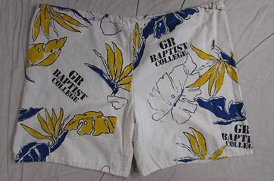Vtg 60s Grand Rapids Baptist College Cornerstone Mod All Over Print Shorts Large