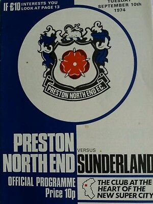 preston North end v sunderland league cup 2nd rd 10/9/1974