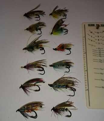 Vintage fully dressed salmon flies x 12 nice hooks and feathers sizes 2 - 6