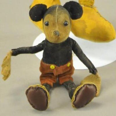 """Antique Early 1930's Walt Disney Dean's Rag Doll English 7"""" Mickey Mouse Toy"""