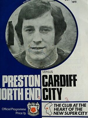 preston North end v Cardiff city 27/10/1973 multi signed by Cardiff players