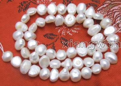 """SALE small 6-7mm  Natural White Freshwater BAROQUE Pearl Loose Bead  14""""-los405"""