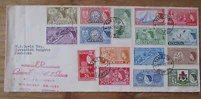 Qeii 1953 Bermuda Pictorial Set Illustrated First Day Cover.