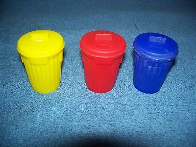 Vintage Topps Garbage Can-dy Candy Cans - Red Blue & Yellow Empty