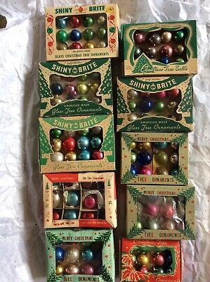 Vintage Lot Shiny Brite Glass Christmas Ornaments Small for Feather Tree