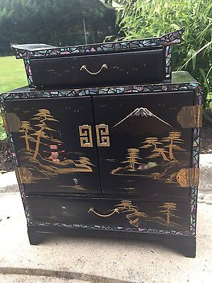 Gorgeous Antique- Dancing Geisha Musical Japanese Jewelry Box- mother of pearl