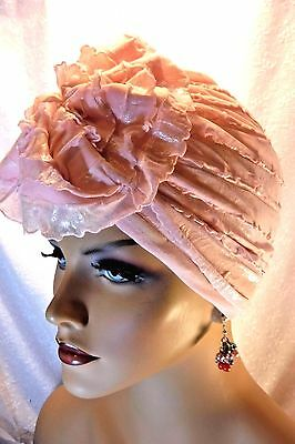"Chemo Turban Twisted Top Knot Tichel Frosted Pink Ruffled ""Something4you"" Hijab"