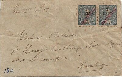 Portuguese India - Cover with pair of 1914 surcharges 3r/1Rp Mouchon