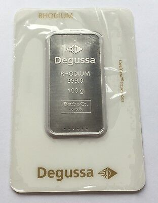 Degussa 100 Gram 0.999 Fine Rhodium Bar Certified