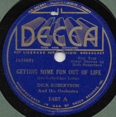 "78er Dance Music Swing Dick Robertson Orch. ""Getting Some Fun Out Of Life"""