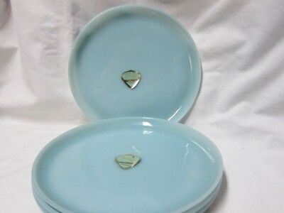 "4 Fire King Turquoise Blue 9""Luncheon Plates New with Label"