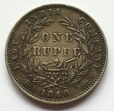 1840 East India Company Queen Victoria Silver One Rupee - Nice Condition!