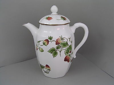 Coalport Strawberry Large Coffee Pot Wavey Edge.