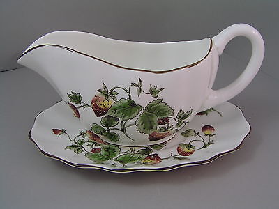 Coalport Strawberry Gravy Boat And Saucer.