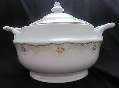 Vintage Favolina China Soup Tureen - Red & Yellow Roses - Poland - Never Used