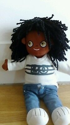 """VERTBAUDET """" Boy Soft Bodied Rag Doll  African/Ethnic/Black with Clothes"""