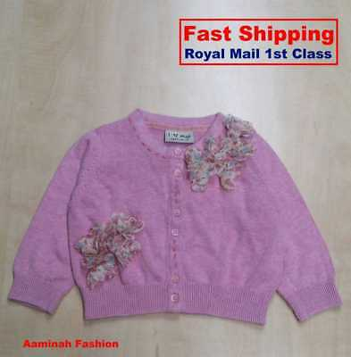 Bnwt Next Baby Girls' Pink Applique Flowers Cardigan 6-9 Months