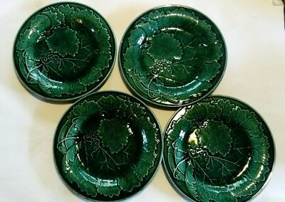 green majolica 4 plates in good condition vine leaves and tendrils vintage